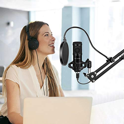 USB Microphone Kit, Piy Painting Cardioid Condenser Microphone Kit with 192KHZ/30Bit Studio Mic Sound Chipset Scissor Arm, Plug & Play Recording Microphone for PC Gaming Streaming Podcasting YouTube