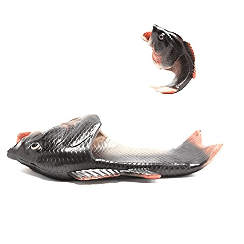 Fish Beach Sandals (Unisex Anti Skid Fish Slippers Beach Slip On Open Toe Slide Animal Sandals For Women Men Kids (Female 10-11/male 8.5-9.5, Black + Silver))