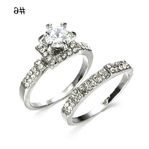 Crookston Chic Women White Sapphire 925 Silver Ring Set Wedding Bridal Jewelry Gift Sz5-11 | Model RNG - 2367 | 9