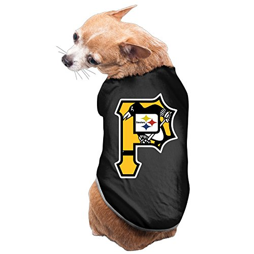 BestGifts Cute Pet Tshirts Pittsburgh Sports Baseball Logo Mixed Dog Puppy Sleeveless Size L Black