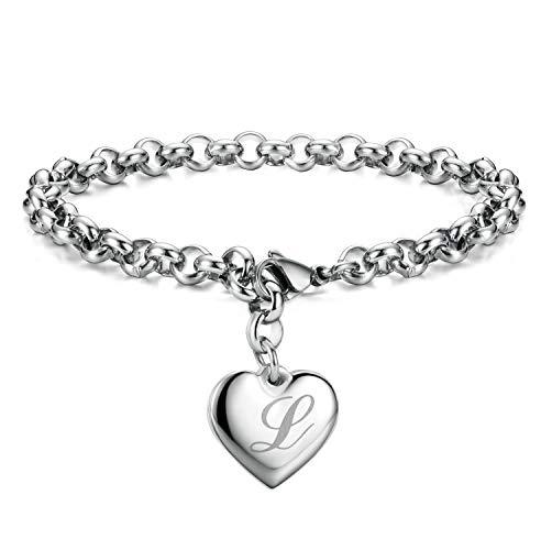 Initial Charm Bracelets Stainless Steel Heart 26 Letters Alphabet Bracelet for Women -