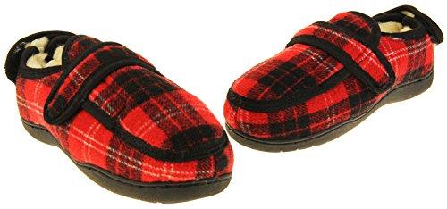 Footwear Studio Herren Einstellbare Klettverschluss Orthopädische Pantoffeln Rot Tartan (Geschlossene Zehenhefterzufuhren)