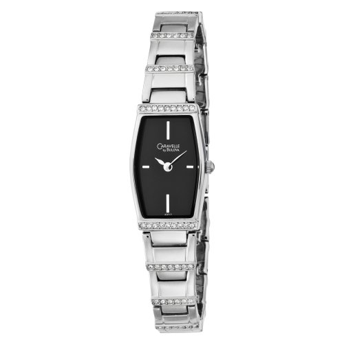 Caravelle Black Dial - Caravelle by Bulova Women's 43T17 Crystal Accented Black Dial Watch