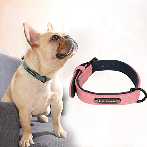 (Coquettish fashion solid and durable soft velvet dog collar leather filled small large dog personalized dog tag attracts attention (Pink, XL))
