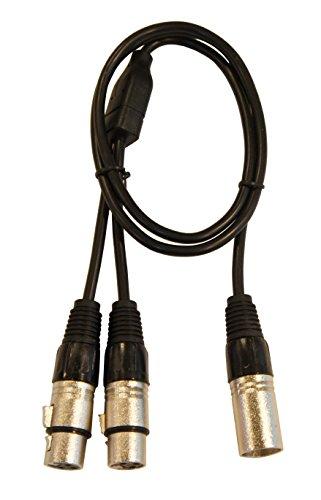 Keen Eye 3ft. XLR Male to XLR Female x 2 Y 1:2 Microphone Splitter Breakout Cable