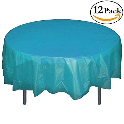 12-Pack Premium Plastic Tablecloth 84in. Round Table Cover - Turquoise
