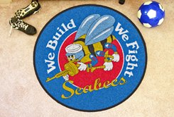 Fanmats Military 'Navy' Nylon Face Round Rug from FANMATS