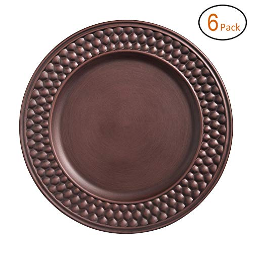 FANTASTIC :) Round 13 Inch Plastic Charger Plates With Antique brushed Finsh (6, Beaded) ()