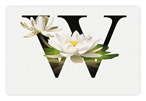 Ambesonne Letter W Pet Mat for Food and Water, Water Lily Flower Arrangement Nature Inspired Alphabet Design Floral Print, Rectangle Non-Slip Rubber Mat for Dogs and Cats, White Green ()