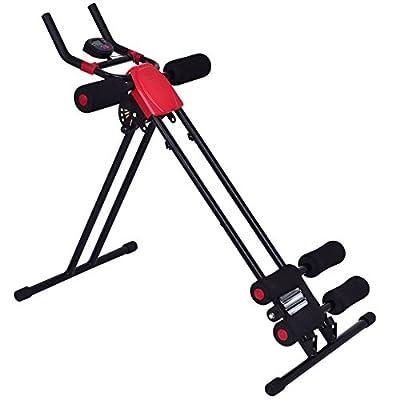 Goplus Ab Trainer Abdominal Trainer Ab Vertical 5 Minute Shaper Waist Trainer Core Toner Ab Cruncher Fitness Machine Equipment W/ LED Counter