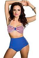 Vintage Retro Bikini Polka High Waist Short Bottom Swimwear (SJ3108, L)