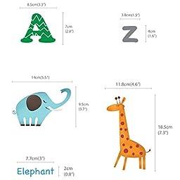 Decowall DA-1308L Alphabet & Animals Peel and Stick Nursery Kids Wall Decals Stickers (Large)