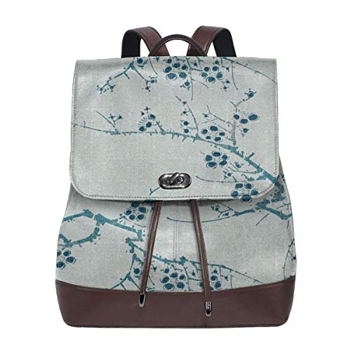 Fashion Leather Backpack Cherry Blossom Time Ink Celadon Purse Waterproof Anti Rucksack PU Leather Bags