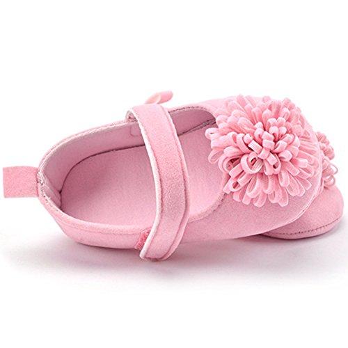 Lindo Niñas Flor Zapatos de bebé Zapatos Suaves Rosado