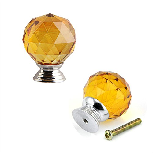 (IdealDecor 40MM 2PCS Yellow Magic Clear Ball Crystal Glass Diamond Shape Cabinet Knob Drawer Pull Handle Kitchen DIY Home)
