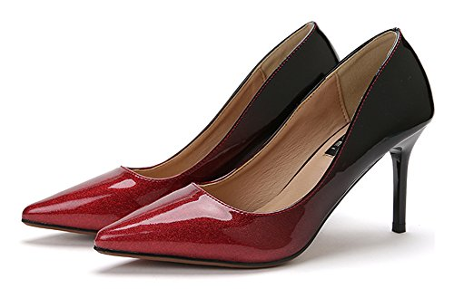 Red Gradient Pointy Platform Heel High Slip Top On CHFSO Stylish Shining Low Womens Pumps Shoes awnxgqCEg