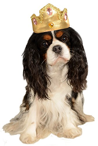 Rubie's Gold Tiara with Pink Stones Pet Costume Accessory, Small/Medium, Poinsettia]()