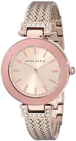 Anne Klein Women's AK/1906RGRG Swarovski Crystal Accented Rose Gold-Tone Mesh Bracelet Watch