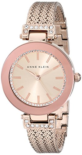 Ak Anne Klein Womens A Day (Anne Klein Women's AK/1906RGRG Swarovski Crystal Accented Rose Gold-Tone Mesh Bracelet Watch)