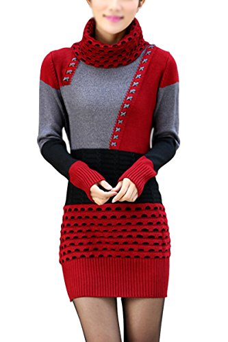 TOOGOO(R)Damen Strickpullover Blusen Oberseiten Rollkragenpullover Langarm Shirt Rot + Grau + Schwarz
