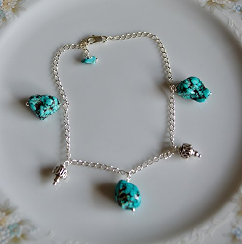 (Turquoise nugget and bali bead sterling silver anklet, cruise wear, beach jewelry)