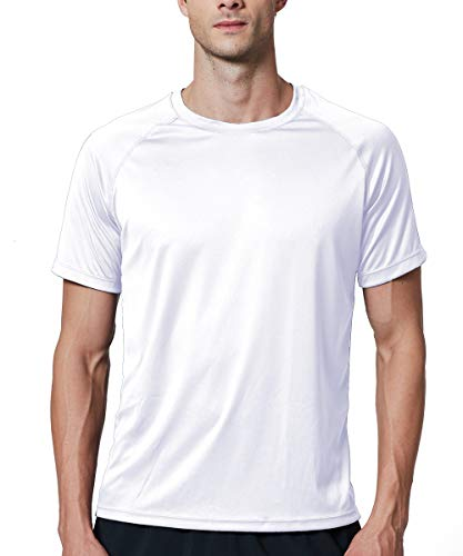 (EXIO Mens Short Sleeve T-Shirt Athletic Cool & Dry Running Top EX-TR03 (White, Large))