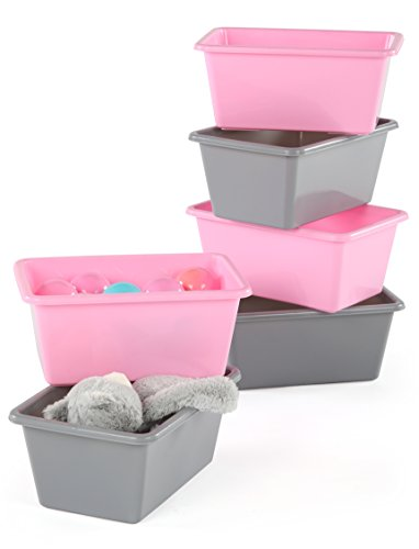 Brave Dot Plastic Open Bin Storage, Pink and Grey, 6 Pack