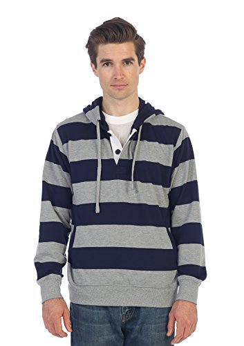 Gioberti Mens French Terry Pullover Striped Hoodie Sweater, Navy, X Large