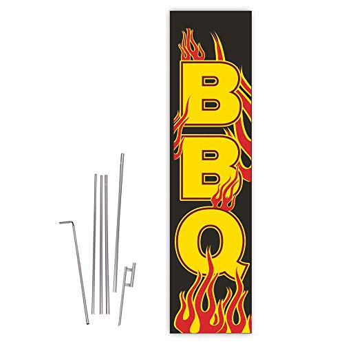 - Cobb Promo BBQ (Flames) Rectangle Boomer Flag with Complete 15ft Pole kit and Ground Spike