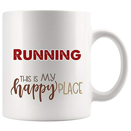 My Happy Place Is Running Mug Coffee Cup Tea Mugs Gift - Kid Children Gift Birthday Gift Runner Run Team Sport Coach Instructor Trainer Men Women Kid Funny Humor Gifts