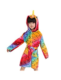 Vine Kids Bathrobe Hooded Sleepwear, Nightgown Cartoon Pajamas Robes Cute Loungewear