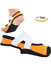 Dioche Calzado de Yoga para Mujeres, Antideslizante Pilates Barre Soft Wrap, Zapatos de Entrenamiento de Baile con Punta Abierta, 1 Par(Naranja M)