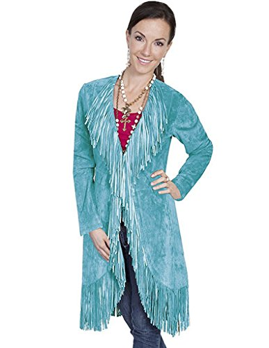 - Scully Women's Boar Suede Fringed Maxi Coat Turquoise Large
