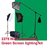 ePhoto 10x12 ChromaKey Green Screen Photo and Video Lighting Kit 2275 Watt Digital Photography Studio Video Chromakey Chroma Key Continuous Softbox Light Lighting Kit Hair light BOOM Stand Kit Set with Carrying Case - 2 Light stands, 2 Softboxes, 1 Boom K