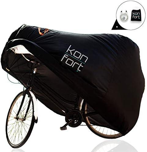 Kon-fort Funda Bicicleta Exterior Impermeable Tejido Oxford 210D Premium Protector para Lluvia Sol Polvo, para Montaña Carretera (1-2 bicis) Incluye Bolsa de Transporte y Candado con Cable antirrobo: Amazon.es: Deportes y aire