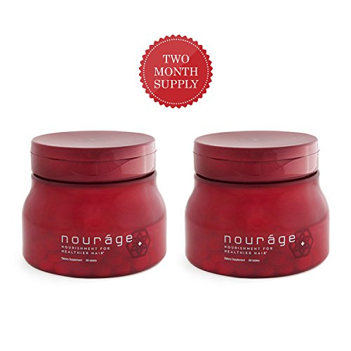 Nourage Hair Growth Vitamins Combo Pack of 2 Supplement Tablets for Thinning & Hair Loss,Thicker Regrowth Biotin Patented Keratin for Women & Men, Skin & Nails Supplement Natural Tested 2 Month Supply