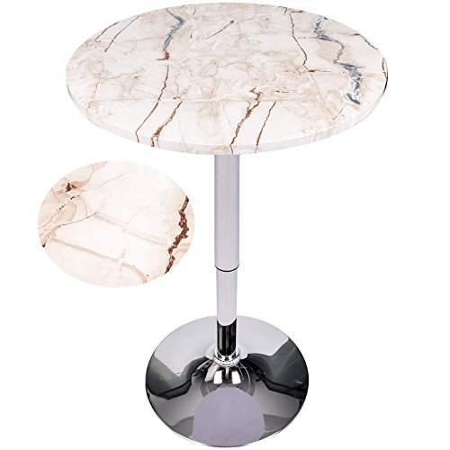 Elecwish Modern Round Bar Table Adjustable Bistro Pub Counter Wood Top Swivel Indoor (Marble Pedestal Dining Table)