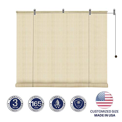 Windscreen4less Exterior Roller Shade Blinds Outdoor Roll Up Shade for Porch Patio Pergola Balcony with 90% UV Protection Privacy for Deck Back Yard Gazebo Carport 6' W x 6' L Beige Tan (Shade Outdoor Rollup)