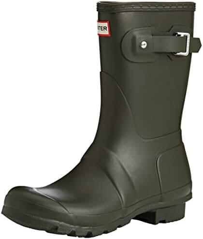 Hunter Original Short Tartan Women Round Toe Synthetic Brown Rain Boot