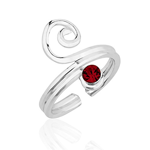 Silver Sterling Swirl Open - Chuvora 925 Sterling Silver Red Crystal Glass Accent Stone Modern Swirl Toe Open Ended Band Ring