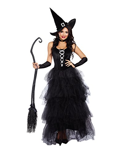 Dreamgirl Women's Spell Bound Costume, Black/Silver, (Dream Girl Witch Costume)