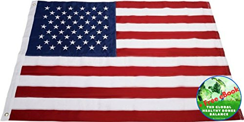 USA Flag - American Flag - 6 x 10 Ft - Sewn Stripes - Embroidered Stars - U.S.A. - By Global (Poly Extra American Flag)
