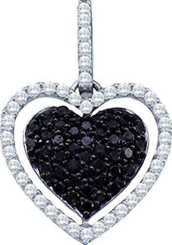 Aienid 10Kt White Gold 0.79ct Black Diamond Heart Pendant Necklace For Ladies
