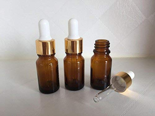 6 piezas 10 ml 0,34 oz vacío recargable ámbar vidrio graduado botella de aceite esencial cosméticos Elite líquido contenedor tarro soporte: Amazon.es: ...
