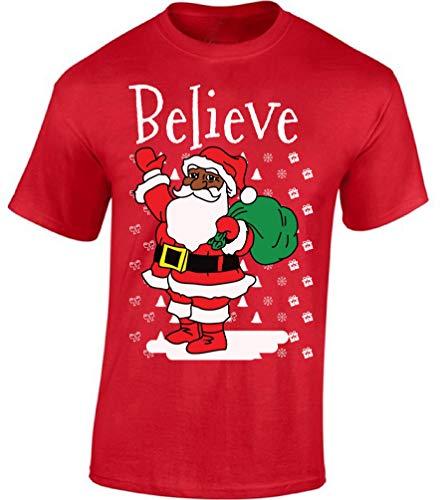 Raxo Believe Santa Men's T-Shirt African American Christmas Shirt Holiday Cheer Tee Red - Shirt Americans Ugly T