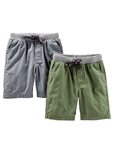 Simple Joys by Carter's Baby Boys' Toddler 2-Pack Shorts, Green, Gray, (Carters Toddler Knit)