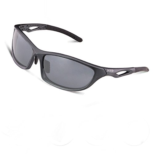 Duco Polarized Sunglasses for all Outdoor sports and 100% TR 90 Flexible Frame 6211 Gunmetal Frame Grey Lense