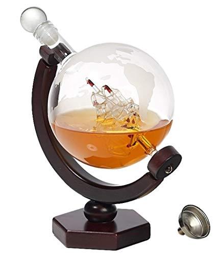 - Whiskey Decanter Globe Set - Lead-Free Decanter for Whiskey, Wine, Cocktails, Liquor, Scotch, Bourbon, Vodka - 850ml. Impressive Home-Bar Beverage Ser