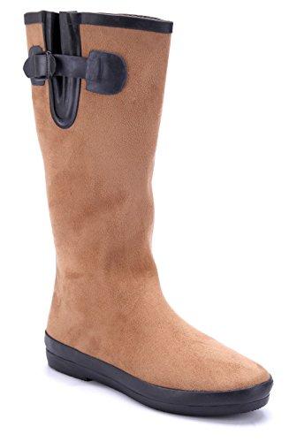Schuhtempel24 Damen Schuhe Flache Stiefel Stiefeletten Boots Flach Schnalle  Camel a9d4bbde62