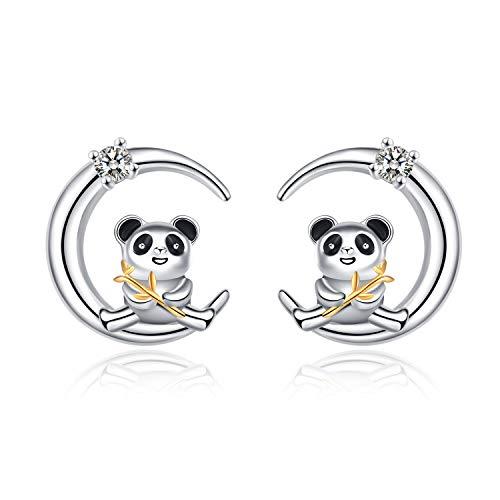 YFN 925 Sterling Silver Cute Panda Bear Stud Earrings for Women Teen Girls